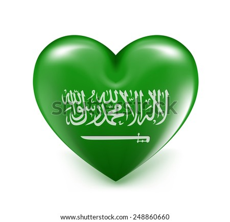 Love Saudi Arabia Hearts National Flag. 3D Vector Illustration - stock vector