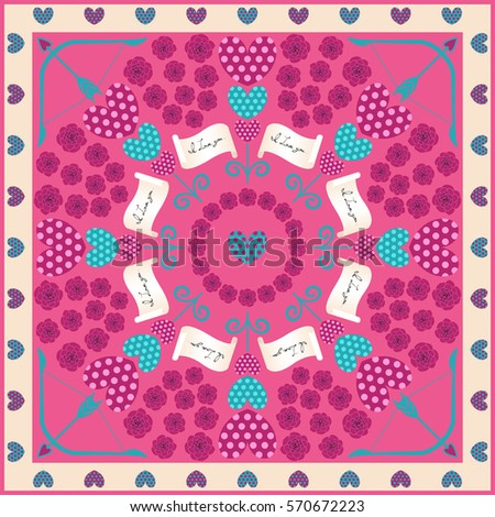 love scarves pattern on pink background