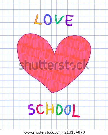 Love school handwritten felt pen imitation vector text with heart on checked paper - stock vector