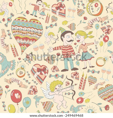 Love seamless pattern of funny doodles in shades of restraint. Perfect for decoration for Valentine's Day. - stock vector