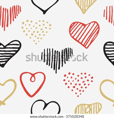 Love seamless pattern romantic doodle hearts unique hand drawn elements for Valentines Day and Wedding, invitation card background, wrapping paper and design    - stock vector