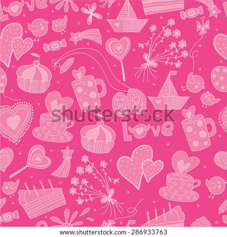 Love seamless pattern. Vector background.