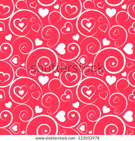 Love seamless pattern. White hearts and swirls on pink background - stock vector