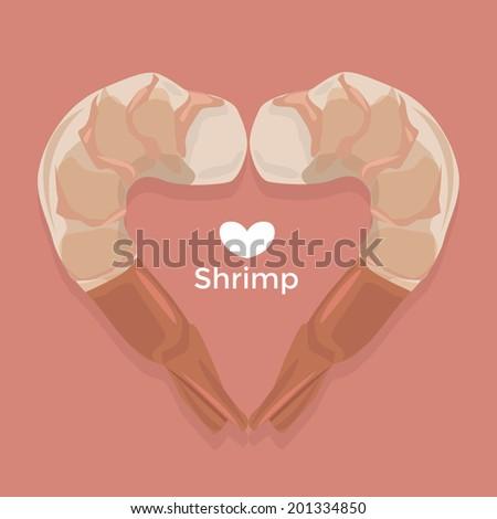 Love Shrimp vector - stock vector