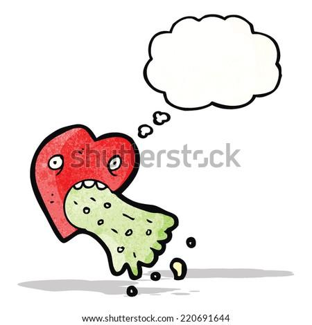 love sick heart cartoon - stock vector