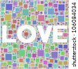 Love sign in a mosaic of harlequin squares - stock vector