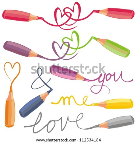 love signs with colorful crayons - stock vector