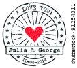 Love stamp - stock vector