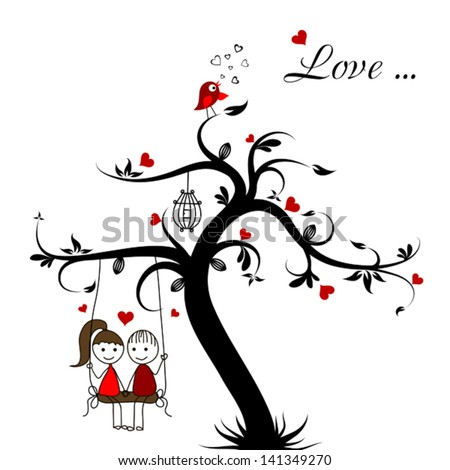 Love story card, vector illustration