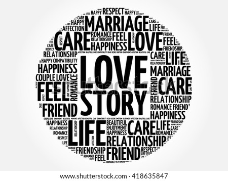 Love Story circle word cloud collage concept