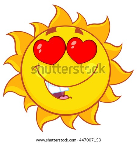 Love Sun Cartoon Mascot Character. Vector Illustration Isolated On White Background