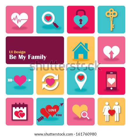 Love Sweet Home Flat UI design trend set icons, vector illustration.  - stock vector