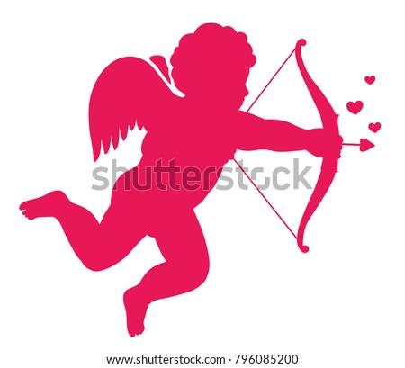 Love Symbol Eros Silhouette Vector Illustration Stock Vector
