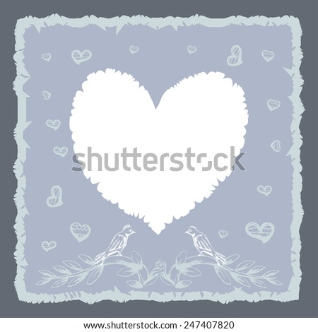 love symbol with couple bird illustration background template - stock vector