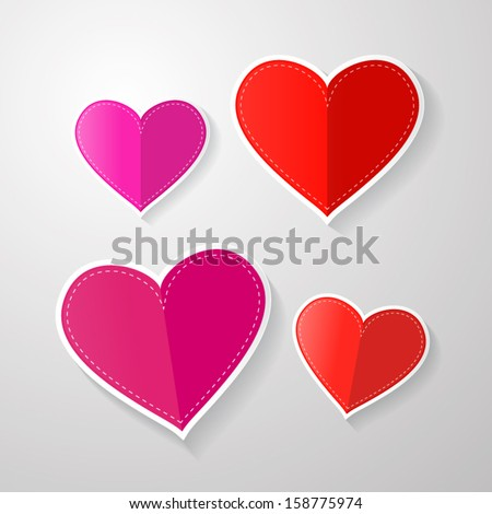 love symbols. hearts made from paper.  - stock vector