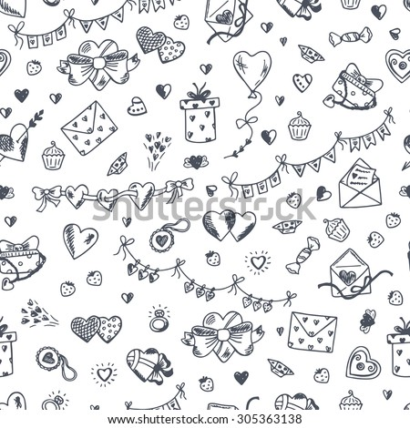 Love symbols Seamless pattern. Hand drawn doodles Vector illustration. Happy Valentine's day.