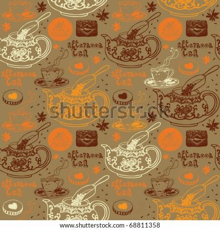 love tea seamless background - stock vector