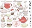 Love tea set with tea drinking elements: teacup, sweeties, candy, cake, teaspoon, teapot, teabag and bird - stock vector