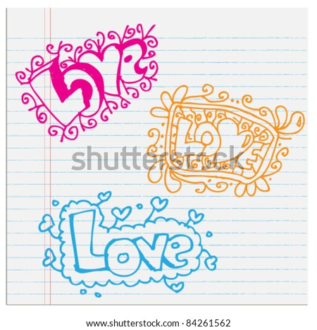 Love text Doodle abstract icon - stock vector