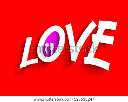 Love text made by paper on red background for Saint Valentine's Day. EPS 10.