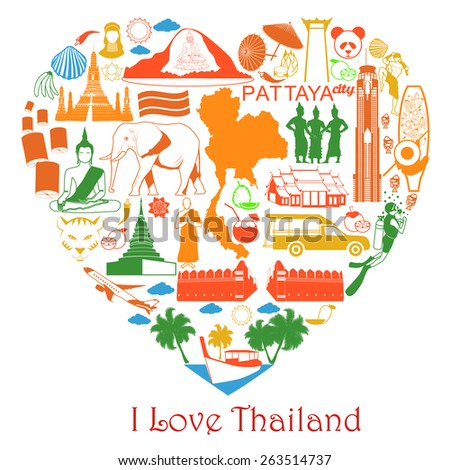 Love Thailand. Thai symbols in form of heart