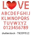 Love the alphabet with a heart  letters and numbers - stock vector