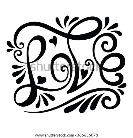 Love the handwritten title with abstract elements for greeting cards, invitations, Valentines. vector illustration