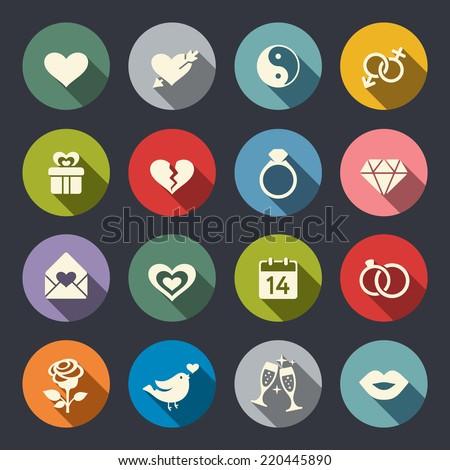 Love theme icon set - stock vector