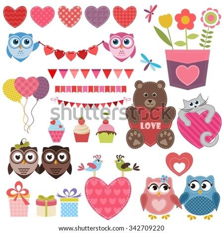 Love theme set - stock vector
