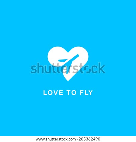 Love to fly symbol - stock vector