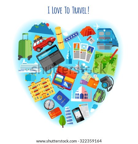 Love to travel concept heart shaped composition of  vacation tourism pictograms background poster flat  abstract vector illustration. Editable EPS and Render in JPG format - stock vector