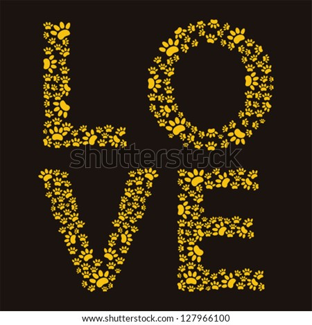 Love  trail of paw prints - stock vector