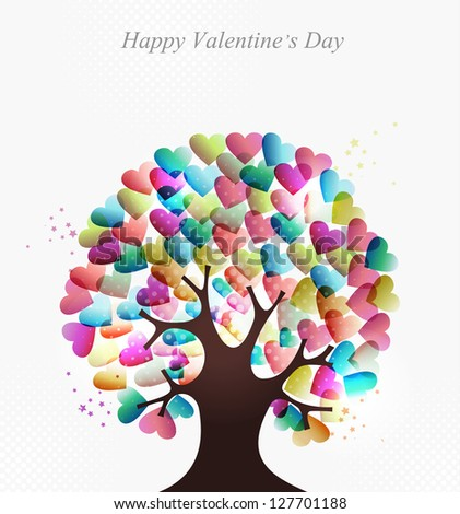 Love transparent hearts concept tree for Valentines day. EPS10 illustration with transparencies layered for easy manipulation and custom coloring.