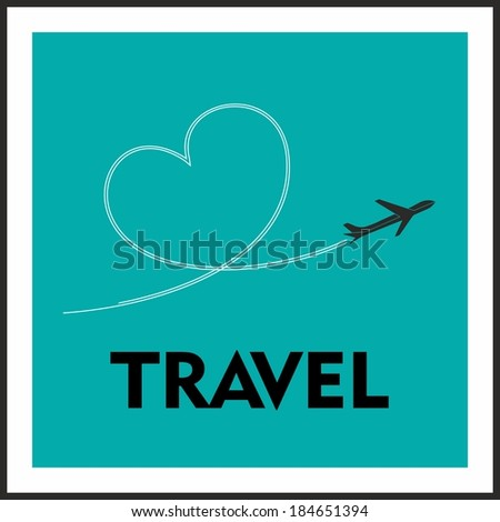 Love Travel Concept. A Airplane flying leaving behind a love shaped trail - stock vector