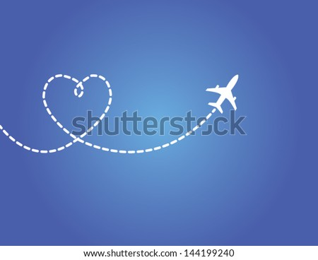 Love Travel Concept Illustration: A Airplane flying in the dark blue sky leaving behind a love shaped smoke trail - stock vector