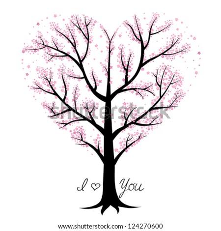 Love tree, heart shaped - stock vector