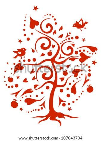 Love-tree made of hearts - stock vector