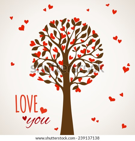 Love tree on light background. Various red hearts on tree. Valentine's card. Vector illustration.