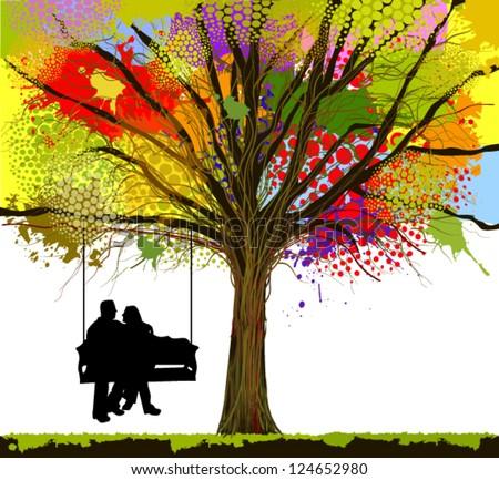 love Tree. swing - stock vector