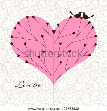 Love tree with a couple of birds. - stock vector