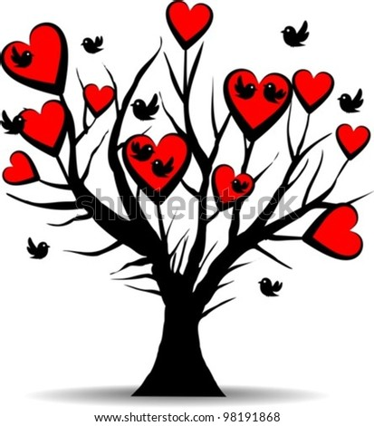 love tree with black birds and red hearts - valentines day, vector illustration - stock vector