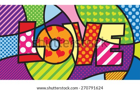 LOVE. TYPO. Modern pop art artwork for your design - stock vector
