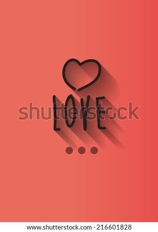 love typo with shadow vector,wedding theme - stock vector