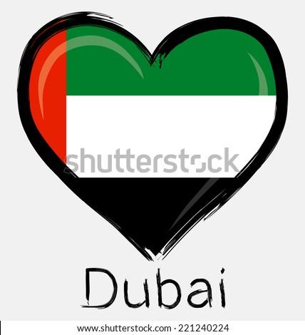 love United Arab Emirates grunge flag - stock vector