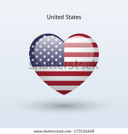 Love United States symbol. Heart flag icon. Vector illustration. - stock vector