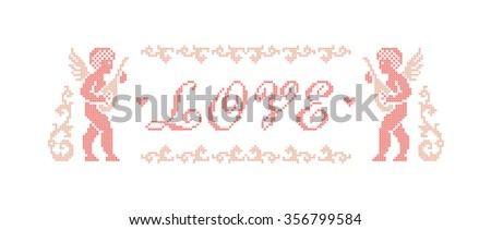 Love. Valentine's day. Greeting card. Scheme of knitting and embroidery. Vector illustration. - stock vector