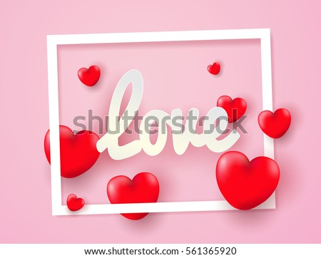 love Valentine's day. Invitation card pink balloons heart on abstract background with text love.Vector illustration.paper craft style.
