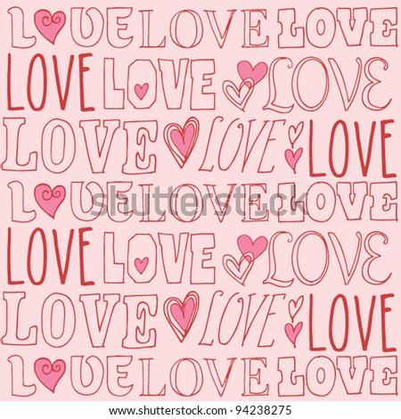 Love Valentines doodle vector - stock vector