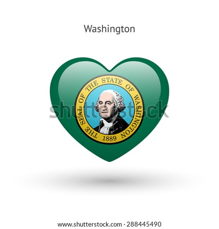 Love Washington state symbol. Heart flag icon. Vector illustration. - stock vector