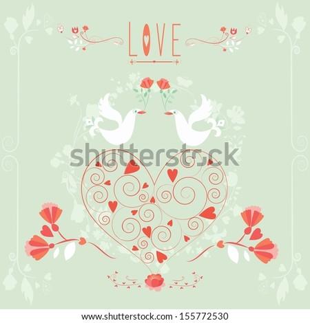 love wedding invitations vector - stock vector